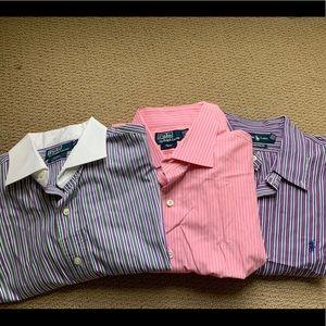 Lot of 3 Ralph Lauren Button Down Shirts Size XL